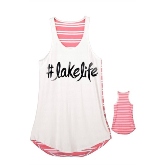 Tops - #Lakelife A-line Tank Top with Striped Back Pink